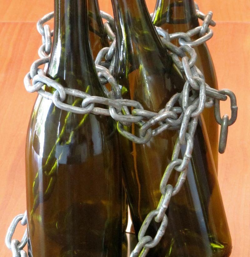 Wine bottles in chains