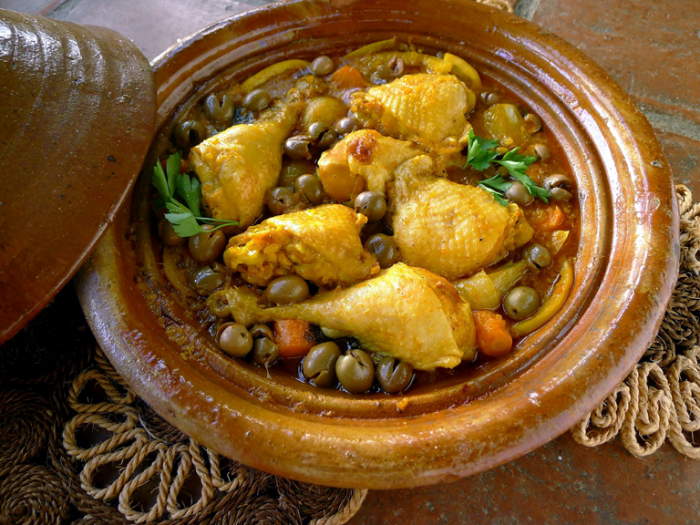 Chicken tagine in pot