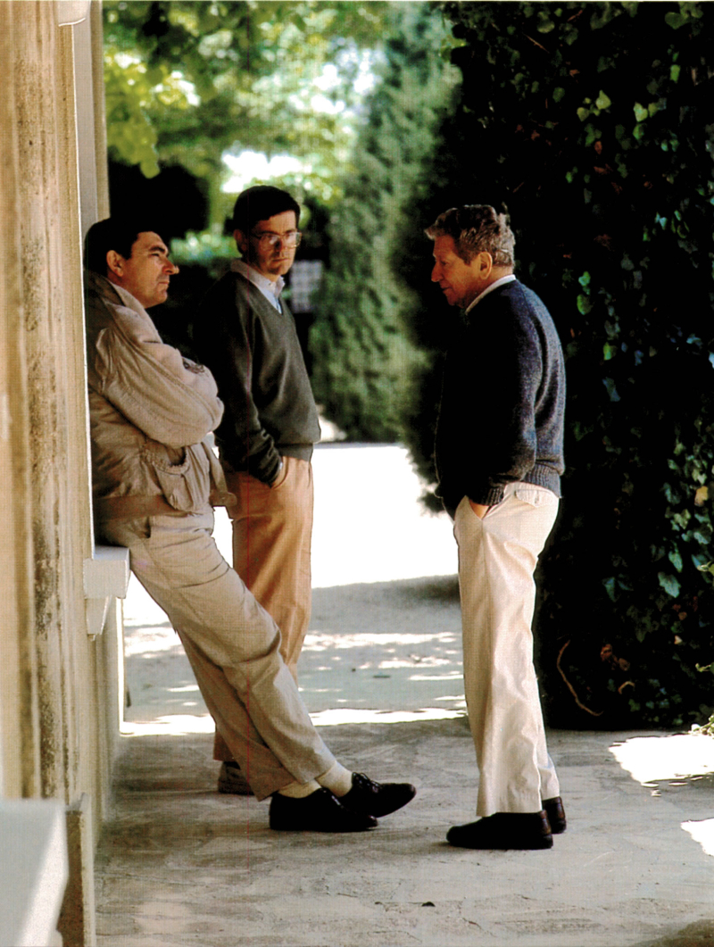 Robert Haas with Jean Pierre and Francois Perrin at Beaucastel c 1985 larger