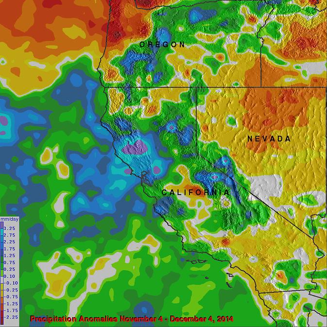CA Precipitation vs Normal 4nov-4dec14