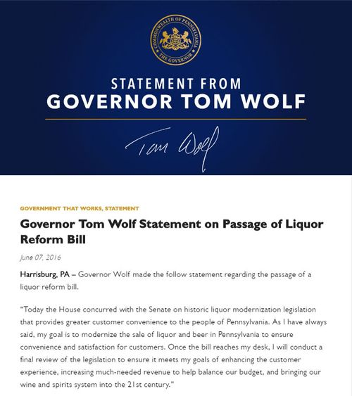 Tom Wolf Statement