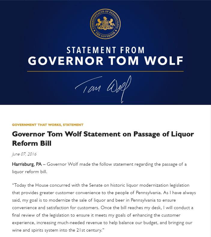 Tom Wolf Statement