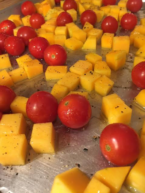 Roasting tomatoes and butternut squash