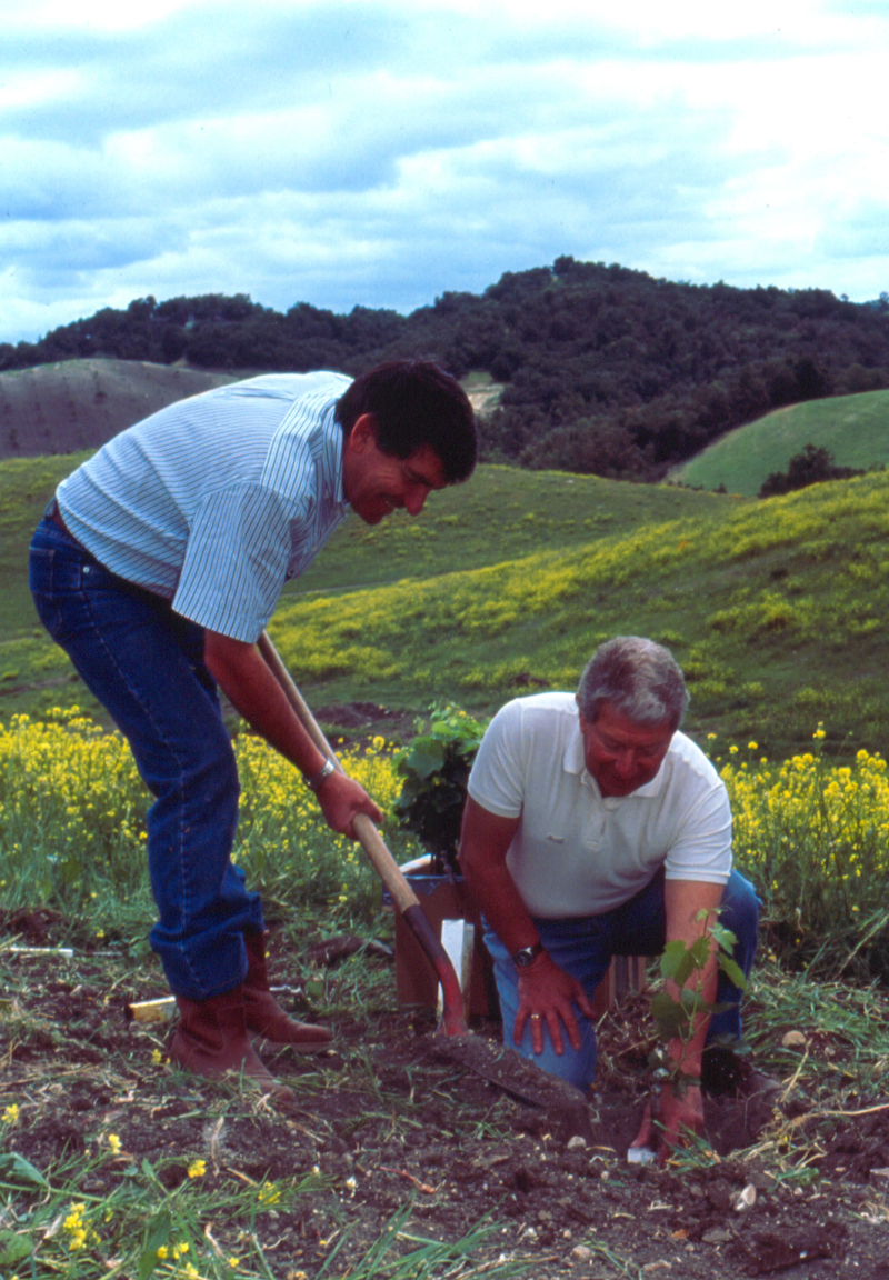 Bob Haas & Jean Pierre Perrin planting first Tablas vine 1992