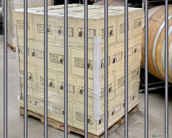 Patelin Rose pallet behind bars