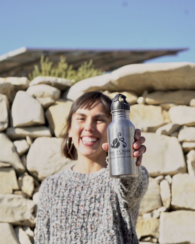 Leslie with water bottle