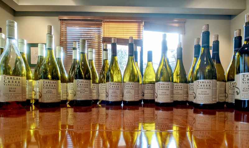 Lineup of all Tablas Creek wines from 2010