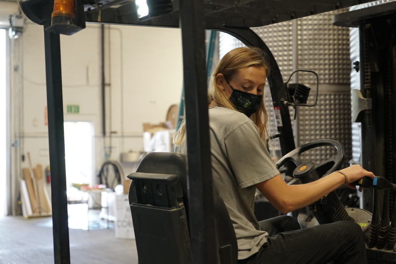 Josie on a Forklift