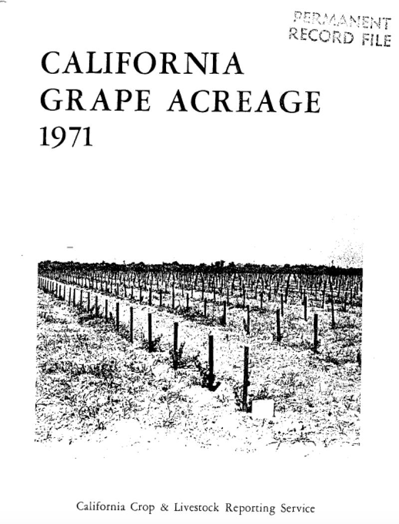 1971 California Grape Acreage Report Cover