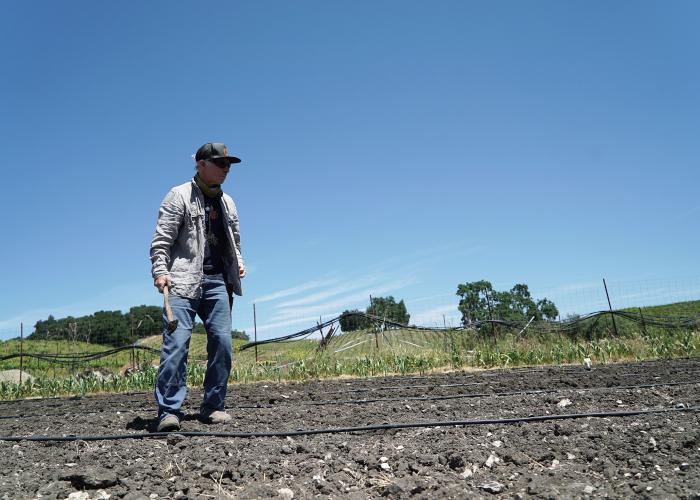 Gustavo standing in the garden