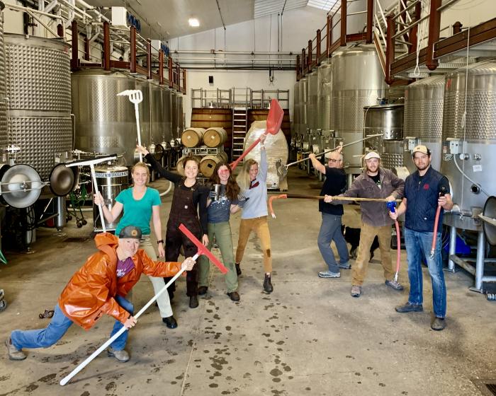 Cellar Crew Celebrating Beginning of Harvest 2021