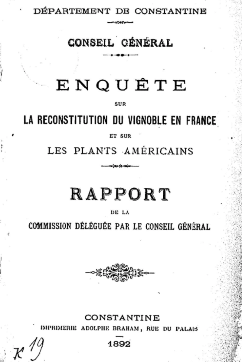 1892 French  Enquete