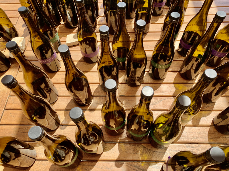 Blending bottles on patio from above - 2020 reds